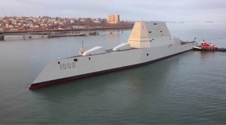 WATCH: Amazing drone video of the newest U.S. Navy Destroyer USS ZUMWALT in Portland Harbor