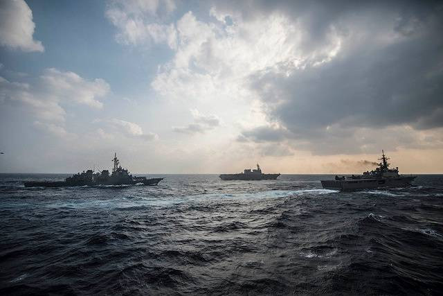 Philippines started separate naval drills with US and Japan in South China Sea