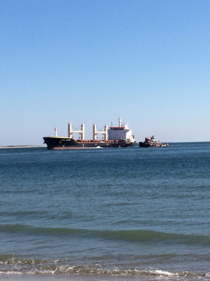 USCG monitors floating of grounded cargo ship Pola Palekh near Fort Macon, NC