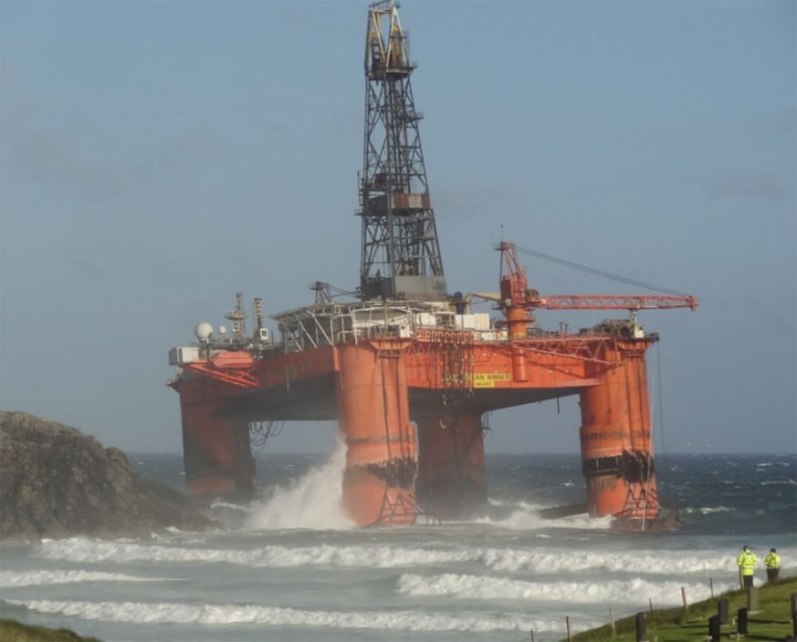 17,000-tonne Drilling rig blown ashore in storms off Western Isles (Video)