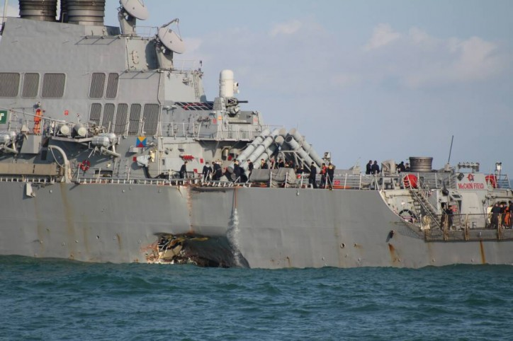 Update: Large SAR operation for 10 missing sailors after collision between USS McCain and Alnic MC near Singapore (VIDEO)