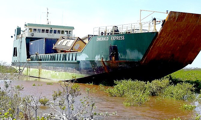 The Emerald Express caught at sea in Hurricane Joaquin and then beached on Crooked Island