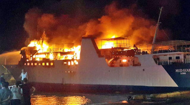 Ferry Med Star engulfed in flames in Tripoli, Lebanon