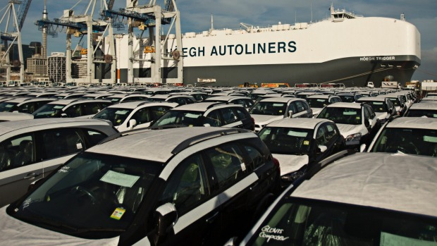 Cars on the dock at Auckland after being unloaded from giant car-carrier Hoegh Trigger.