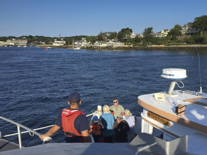USCG responds to harbor cruise boat with 34 people aboard taking on water near Gloucester, Mass.