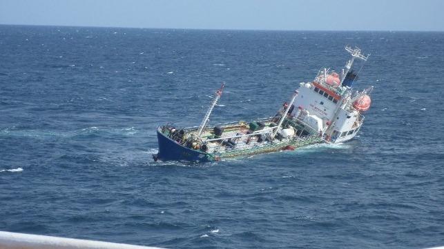 French frigate Cassard saves 12 Indian crewmembers of sinking Asphalt tanker Durban Queen