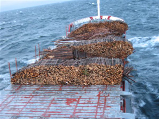 Cargo ship Afalina lost deck cargo in storm