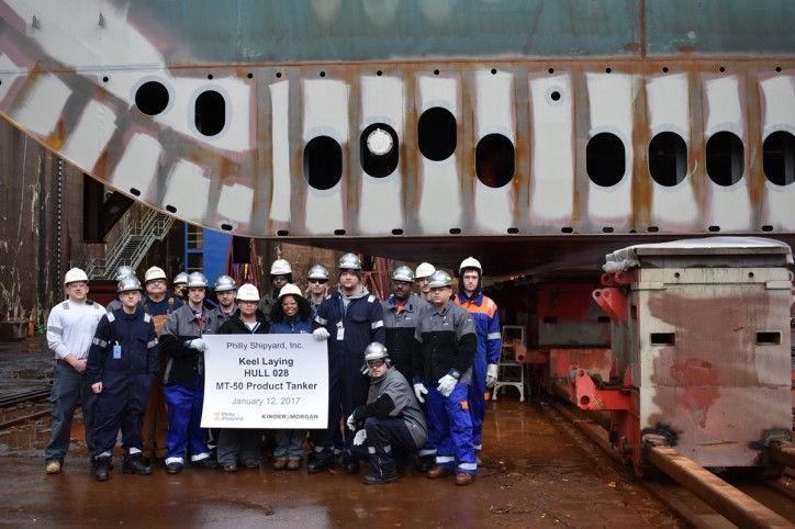 Philly Shipyard Celebrates Keel Laying Milestone for Fourth Product Tanker for Kinder Morgan