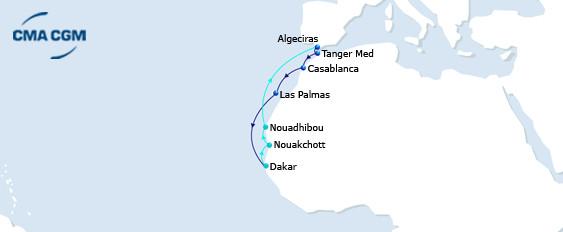 CMA CGM WAZZAN service from Morocco to West Africa