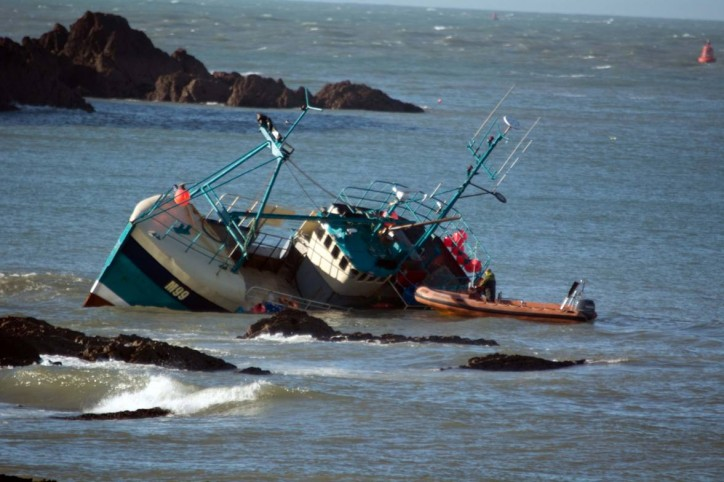 Five fishermen rescued from stricken vessel off Milford Haven, Wales