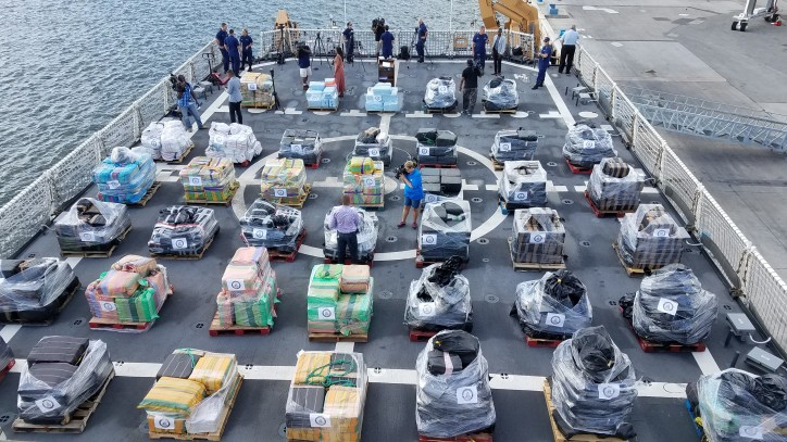U.S. Coast Guard Cutter Hamilton offloads more than 18 tons of cocaine in Port Everglades