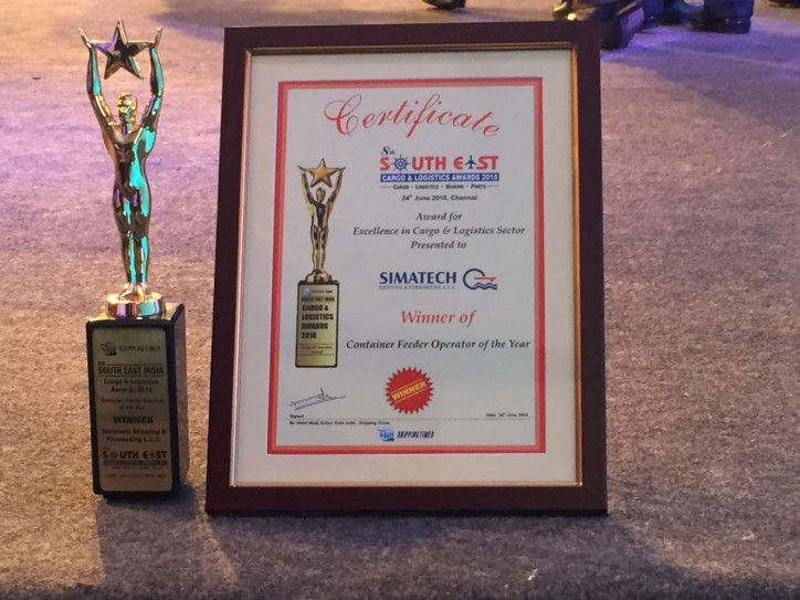 "Simatech Shipping awarded "" Container Feeder operator of the Year"""