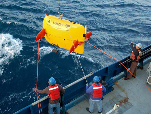 Autonomous Underwater Vehicle Sentry used for the El Faro Voyage Data Recorder search.