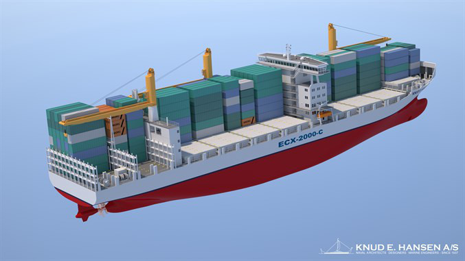 ECX-2000-C  2000 TEU Feeder Vessel of Bankok Max-size with counter rotating propellers - See more at: http://www.knudehansen.com/news/news-from-knud-e-hansen/2016/pioneering-container-feeder-vessel-designs/#sthash.q33fMfxE.dpuf