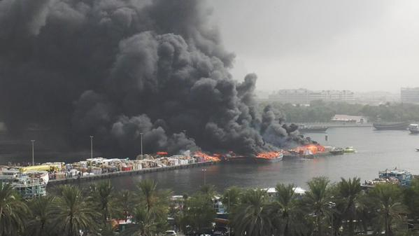A number of vessels burst into flames at UAE's Dubai Creek