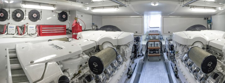 The first pair of MAN V12-1900 engines in Riviera 77 Enclosed Flybridge