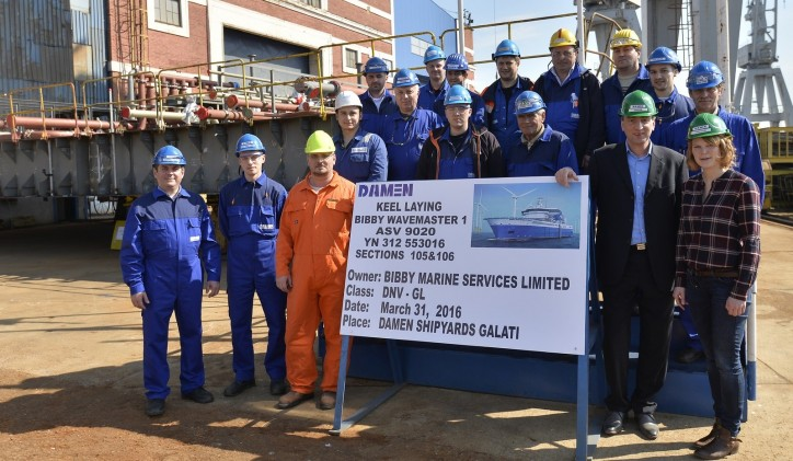 Damen and Bibby Marine Services celebrate keel laying of first Service Operations Vessel