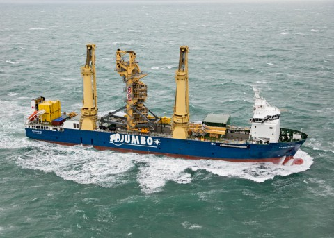The 1,720t vertical lay system (VLS) of Normand Maximus was transported by Jumbo's mv Fairmaster from La Rochelle in France to Brattvaag in Norway