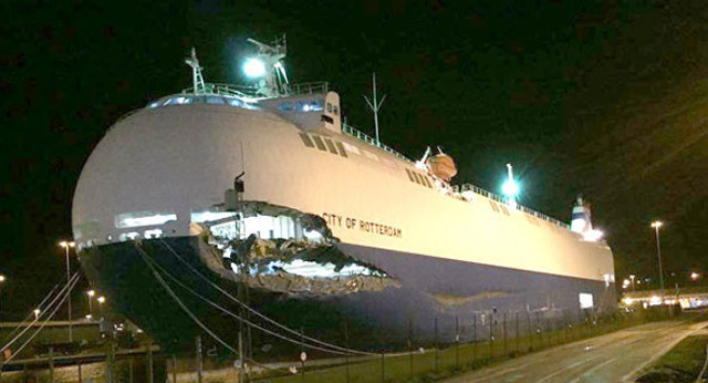 Collision between car carrier City of Rotterdam and Ro-Ro ferry Primula Seaways off Immingham,UK