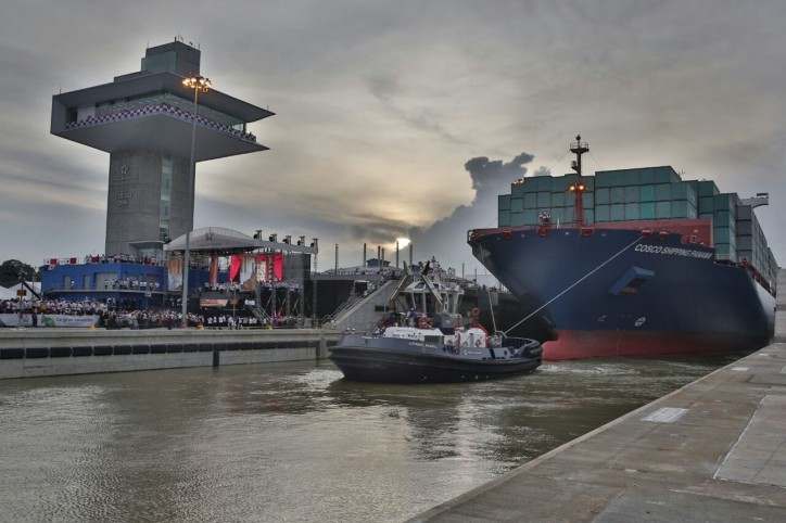 Cosco Shipping Panama, the first vessel to use the new locks