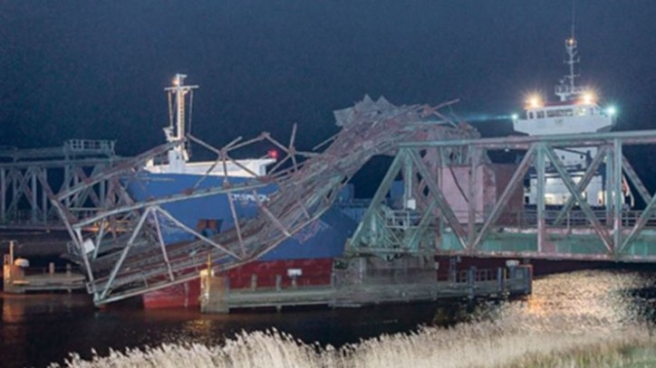 Cargo ship EMSMOON allided with Ems bridge in Papenburg, Germany; Bridge severely damaged