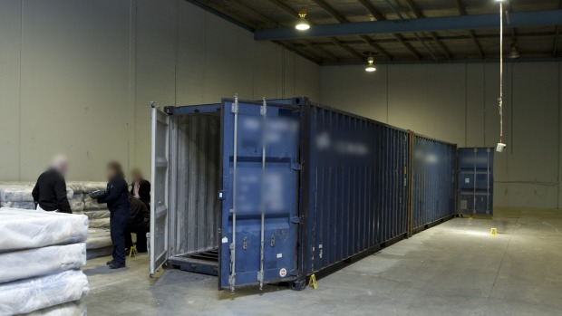 The drugs were found under the shipping containers' floorboards  Read more: http://www.theage.com.au/victoria/eight-held-after-afp-find-275mworth-of-ice-under-shipping-container-floorboards-20160704-gpxzcs.html#ixzz4DW3bPVpJ  Follow us: @theage on Twitter | theageAustralia on Facebook