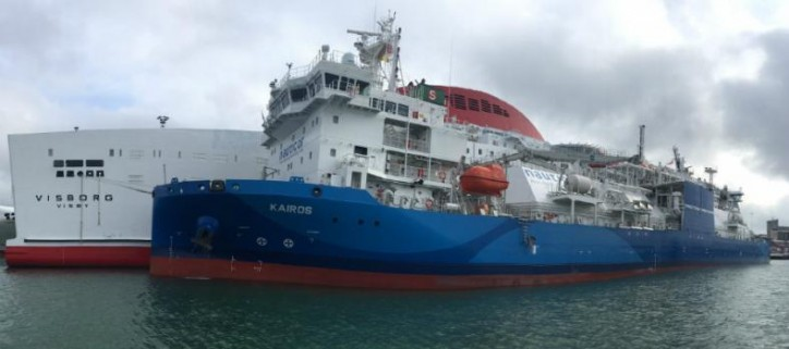 Nauticor's new LNG bunker supply vessel Kairos conducted the first bunker operation for the LNG fuelled ferry Visborg in the port of Visby