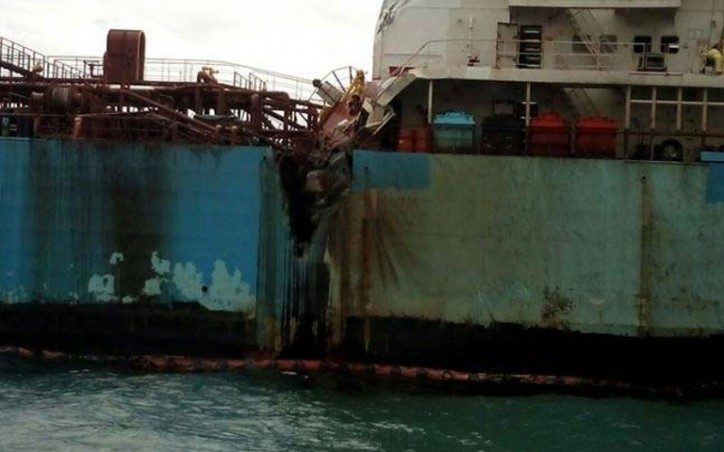 Collision between LPG tanker BW Maple and chemical tanker Dawn Kanchipuram off Ennore port, India (Video)
