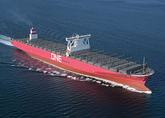 "ONE takes delivery of its fist magenta-coloured new-building containership ""ONE STORK"""