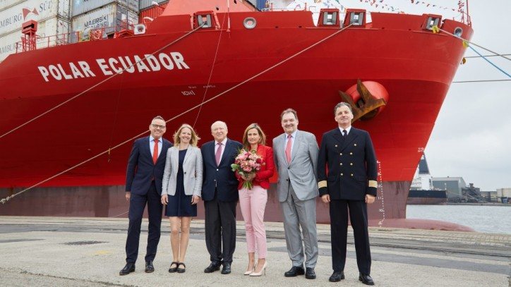 "Hamburg Süd christens ""Polar Ecuador"" in Antwerp"