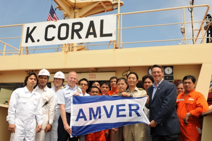 U.S. Coast Guard, AMVER recognize merchant vessel K. Coral crew for heroic rescue