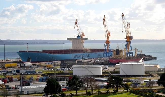 Container Ship Emma Maersk calls at Damen Shiprepair Brest for Special Survey works