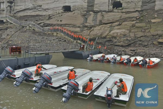 Rescue operations after the Chinese sunken ferry in Yangtze river with more than 400 missing
