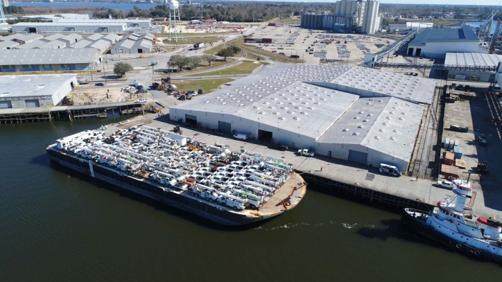 Foss Maritime ships hundreds of Utility Trucks to help restore power in Puerto Rico