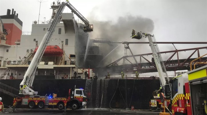 Port Kembla suspends operations after a fire on board self-discharging bulk carrier Iron Chieftain
