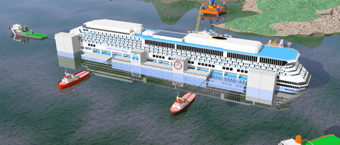 parbuckling project for the removal of Costa Concordia shipwreck on July 14