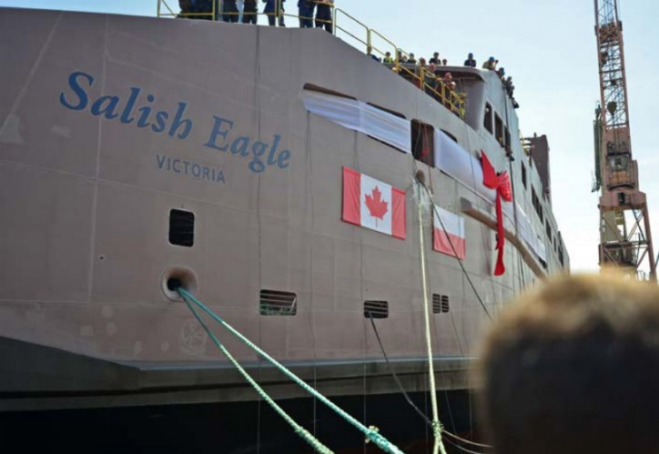 Champagne bottle christens BC Ferries' Salish Eagle at ceremony at Remontowa Shipbuilding S.A. in Gdansk, Poland.