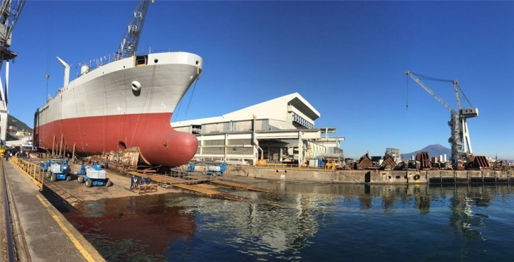 "Fincantieri: Bow Section Of The LSS Logistic Support Unit ""Vulcano"" Launched in Castellammare"