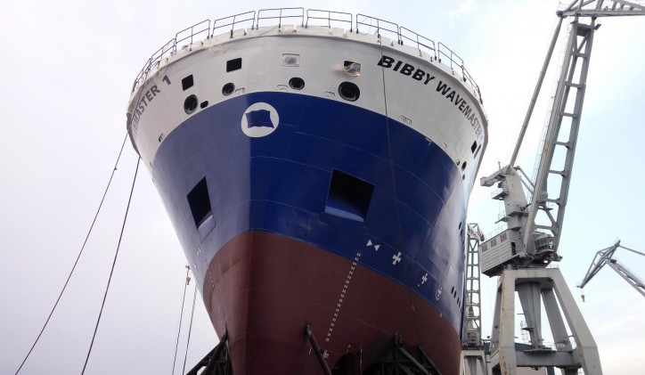 Damen Shipyards Galati has completed the bow of Bibby Wavemaster 1
