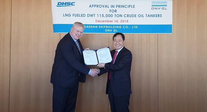DNV GL awards AiP to Daehan Shipbuilding for LNG-fuelled Aframax design
