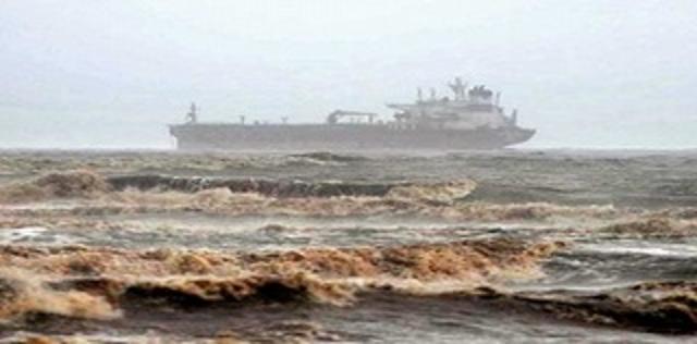 Freighter sinking off Mumbai in the Arabian Sea