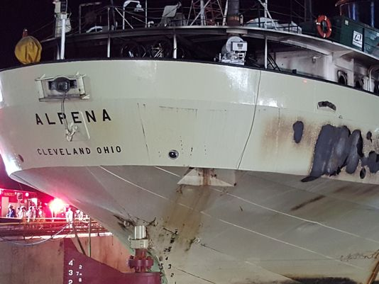 The Alpena was damaged Friday night (Dec11) after a fire broke out on board the vessel. The ship is currently dry-docked at Bay Shipbuilding in Sturgeon Bay.