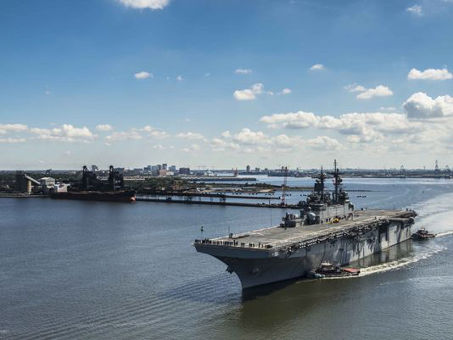 Lockdown lifted on Navy ship Wasp after bomb threat at Norfolk pier