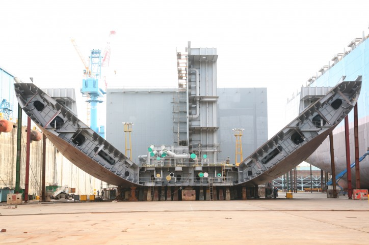 Spotted: Hanjin leads keel laying for two tankers