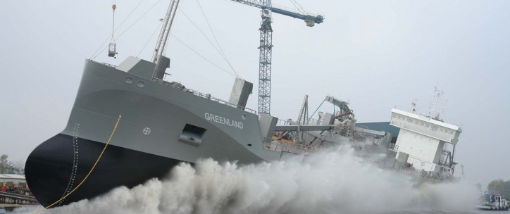 Cement tanker Greenland christened and successfully launched at Ferus Smit shipyard, Westerbroek, NL.