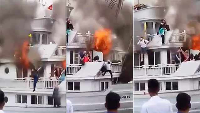 Tourists jump overboard to save themselves from burning cruise ship