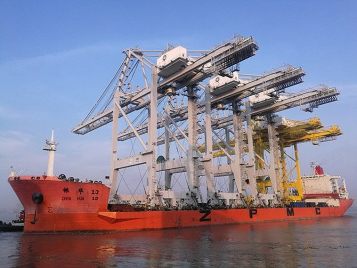 Three new Super Post-Panamax STS cranes for Port Houston on their way from Shanghai to Barbours Cut Container Terminal