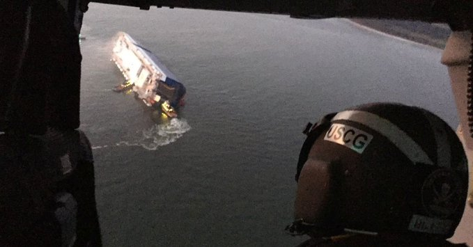 US Coast Guard conducting rescue operation for 4 missing crew members aboard disabled, burning vessel in St. Simons Sound