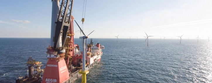Heerema's DP3 Vessel Aegir Installs First Offshore Wind Turbine