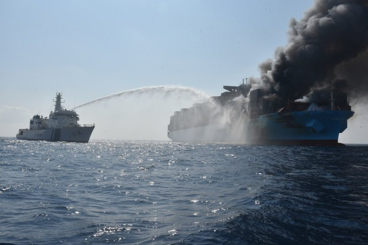 UPDATE: Evacuated Maersk Honam crew are on land, firefighting at sea initiated